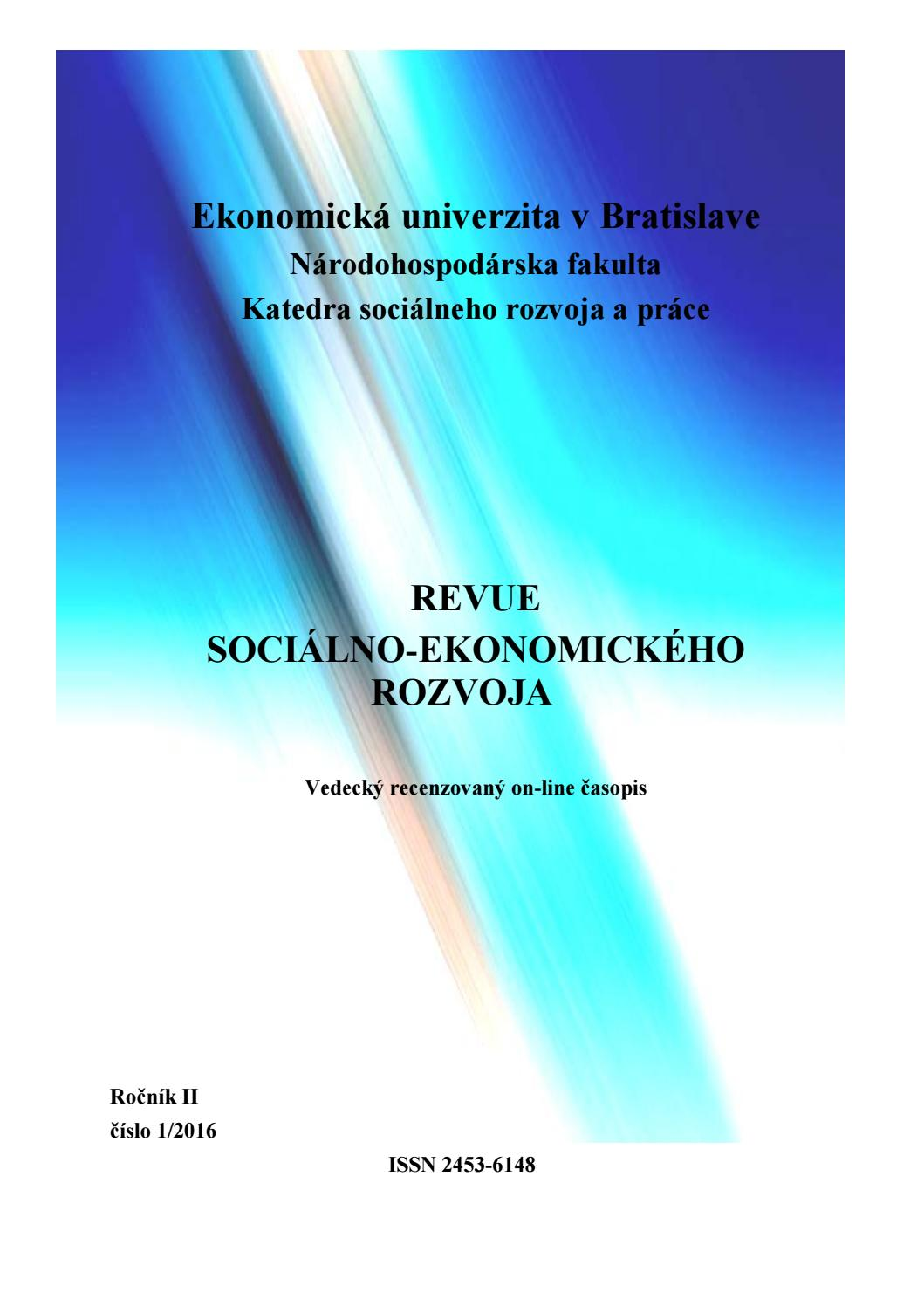 3a384eed030c5 Revue Sociálno-Ekonomického Rozvoja 1 2016 by NHF EU v Bratislave - issuu