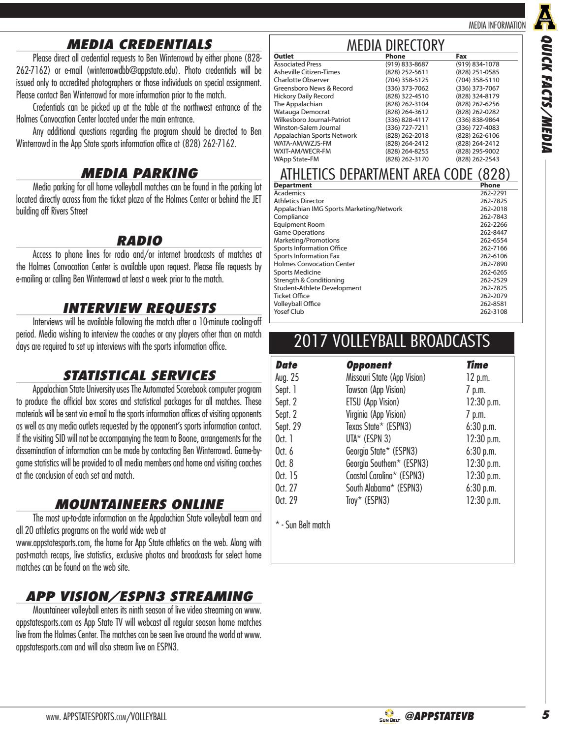 2017 Appalachian State Volleyball Media Guide by Appalachian