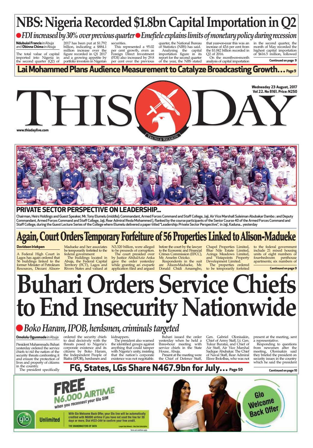 6938defddfe Wednesday 23rd August 2017 by THISDAY Newspapers Ltd - issuu