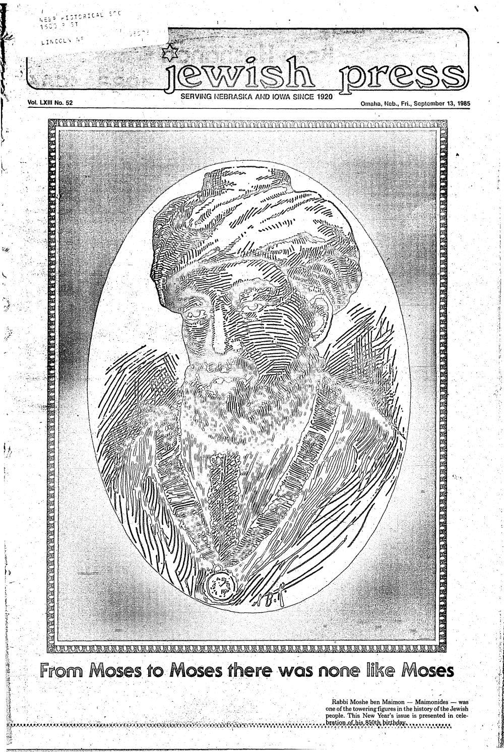 September 13 1985 Rosh Hashanah Edition By Jewish Press
