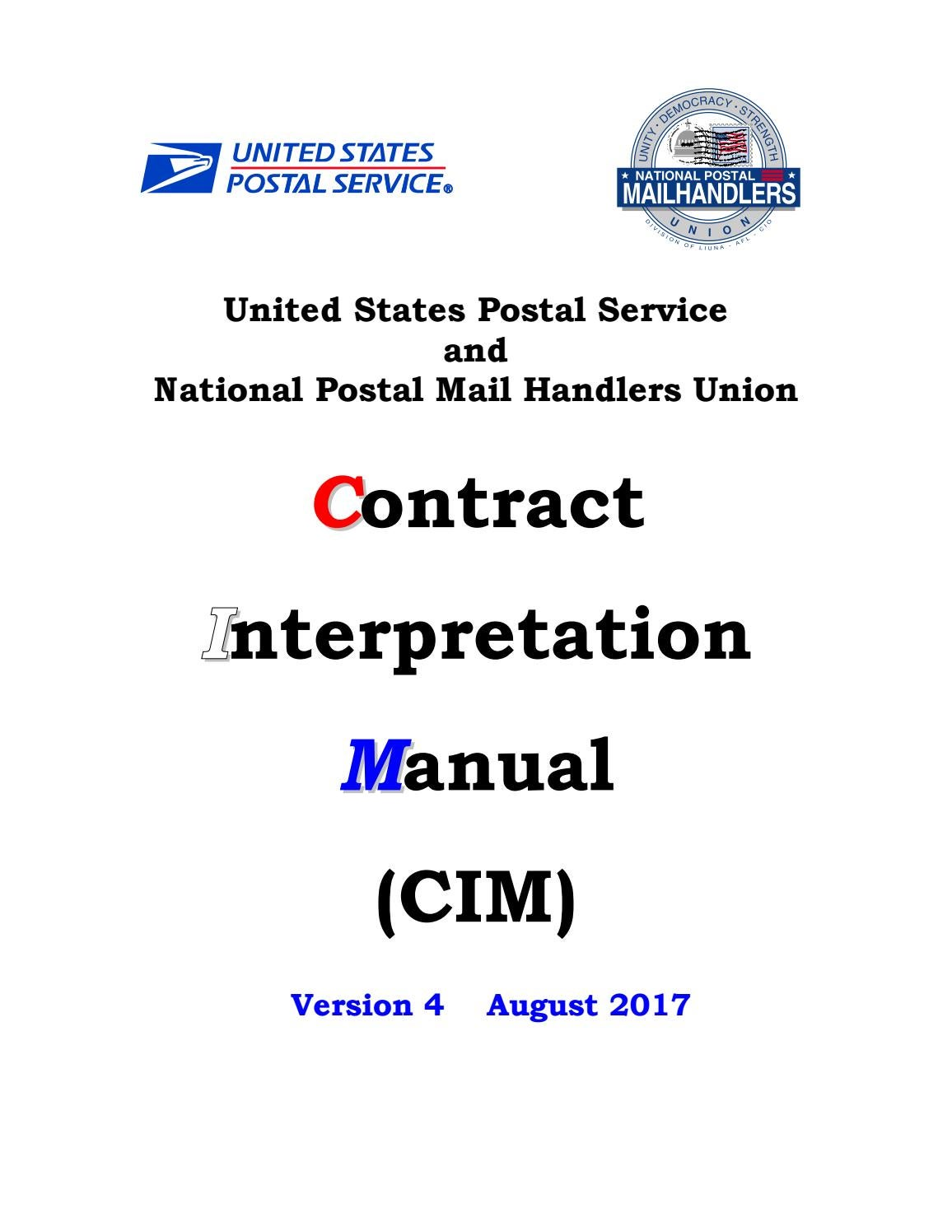 Contract Interpretation Manual v 4 by National Postal Mail