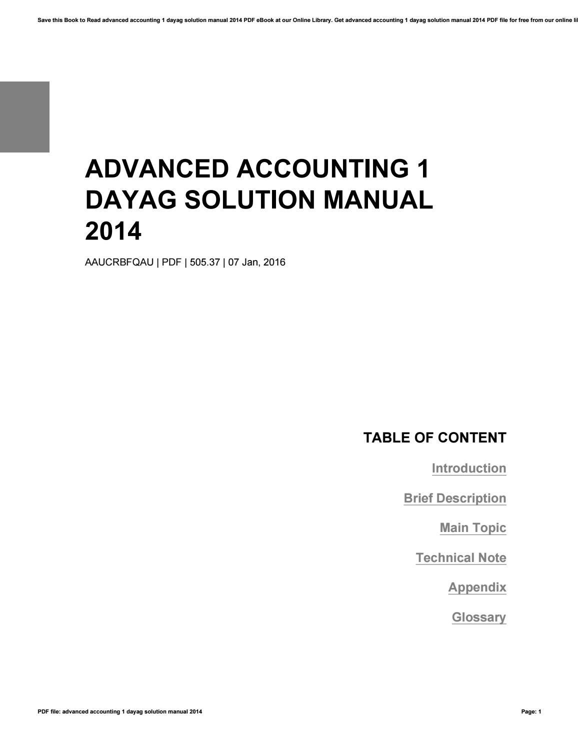Advanced accounting 1 dayag solution manual 2014 by StevenKendrick1440 -  issuu