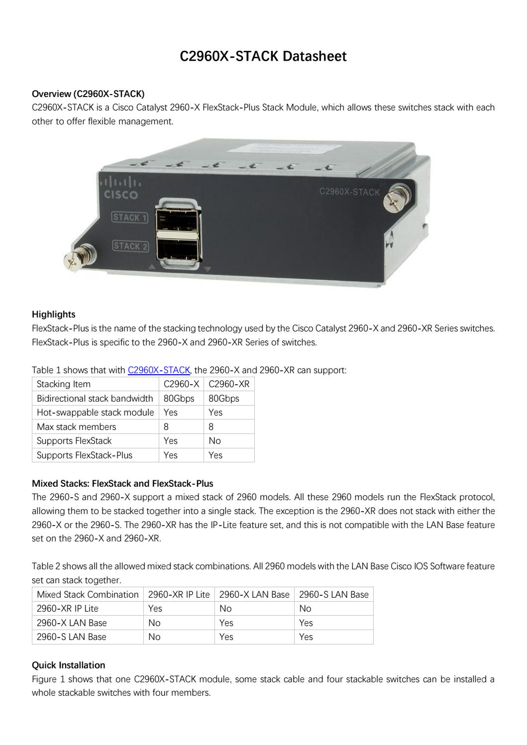 Cisco catalyst 2960 x flexstack plus stack module datasheet by