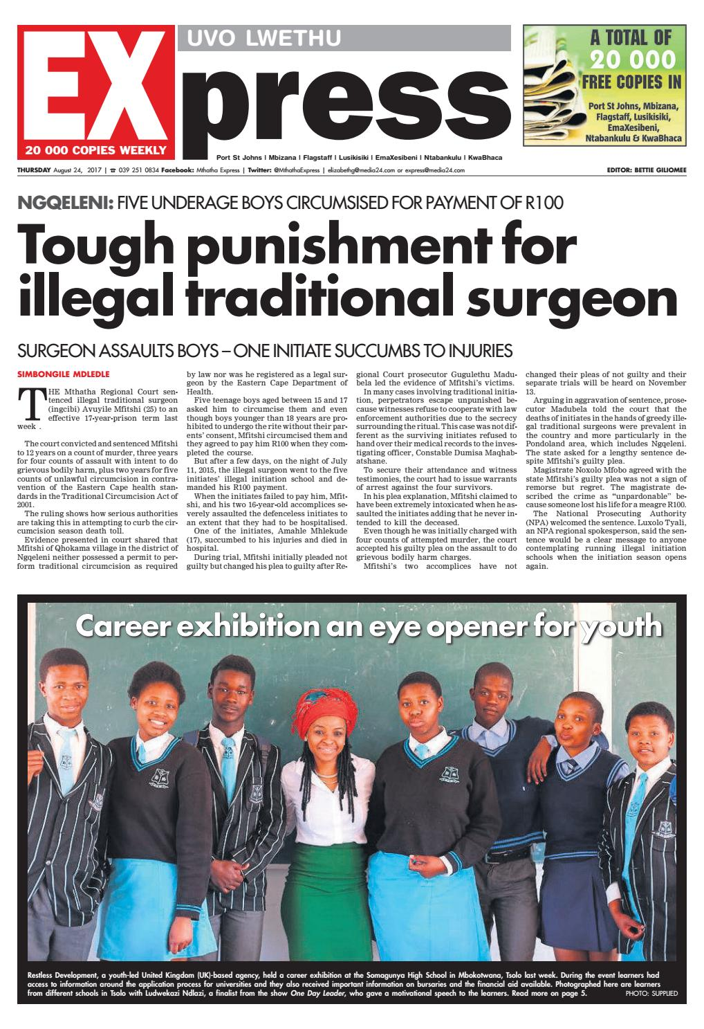 Uvolwethu express 24 august 2017 by Mthatha Express - issuu