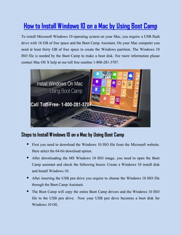 Call 1-800-281-3707 Install Windows 10 on a Mac by Using