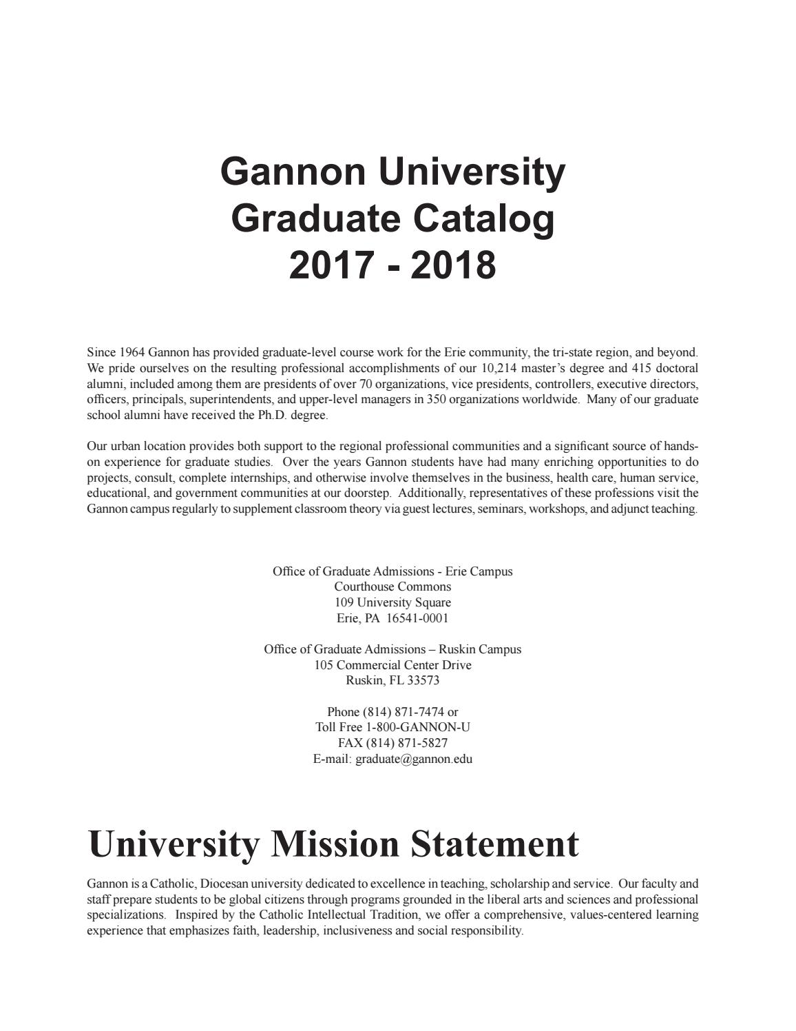 Gannon University Graduate Catalog 2017 2018 By Gannon University