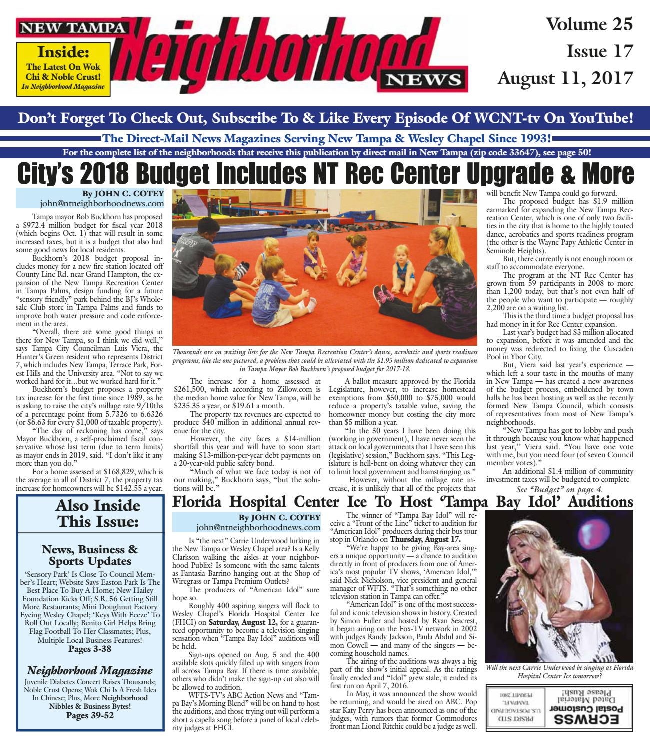 New Tampa Neighborhood News, Volume 25, Issue 17, Aug  11