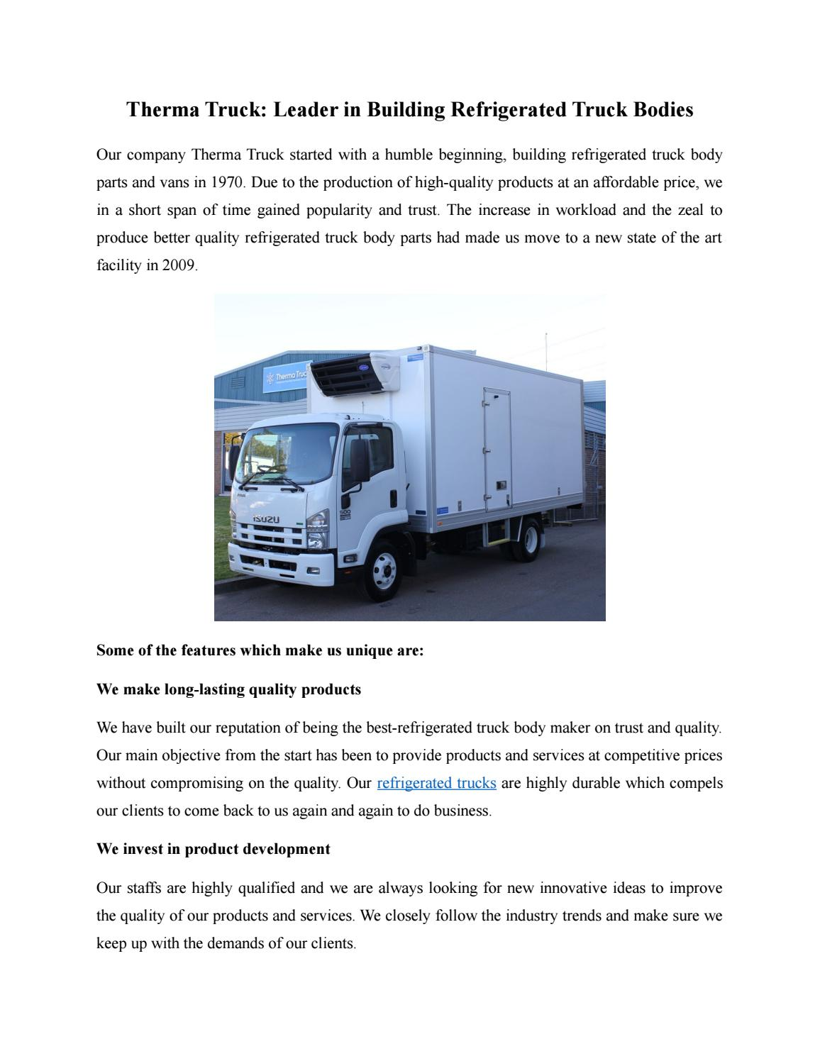 Therma Truck- Leader in Building Refrigerated Truck Bodies