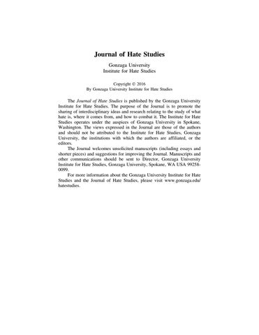 Journal Of Hate Studies Volume 13 By Gonzaga University Issuu