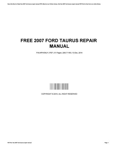 free 2007 ford taurus repair manual by georgejohnson3461 issuu rh issuu com 2013 ford taurus repair manual pdf 2010 ford taurus repair manual pdf
