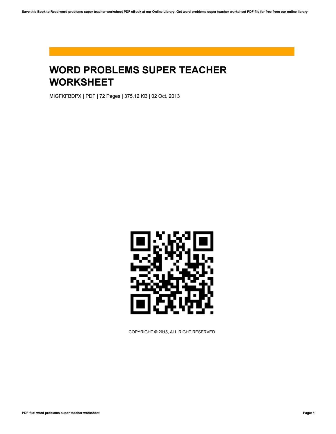 Word problems super teacher worksheet by RobThornburg4991 - issuu