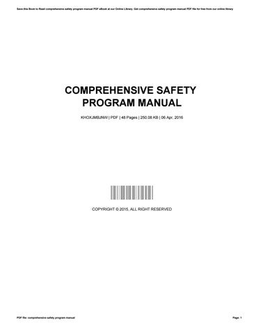 comprehensive safety program manual by bonniepond4814 issuu rh issuu com Corporate Safety Program Corporate Safety Program