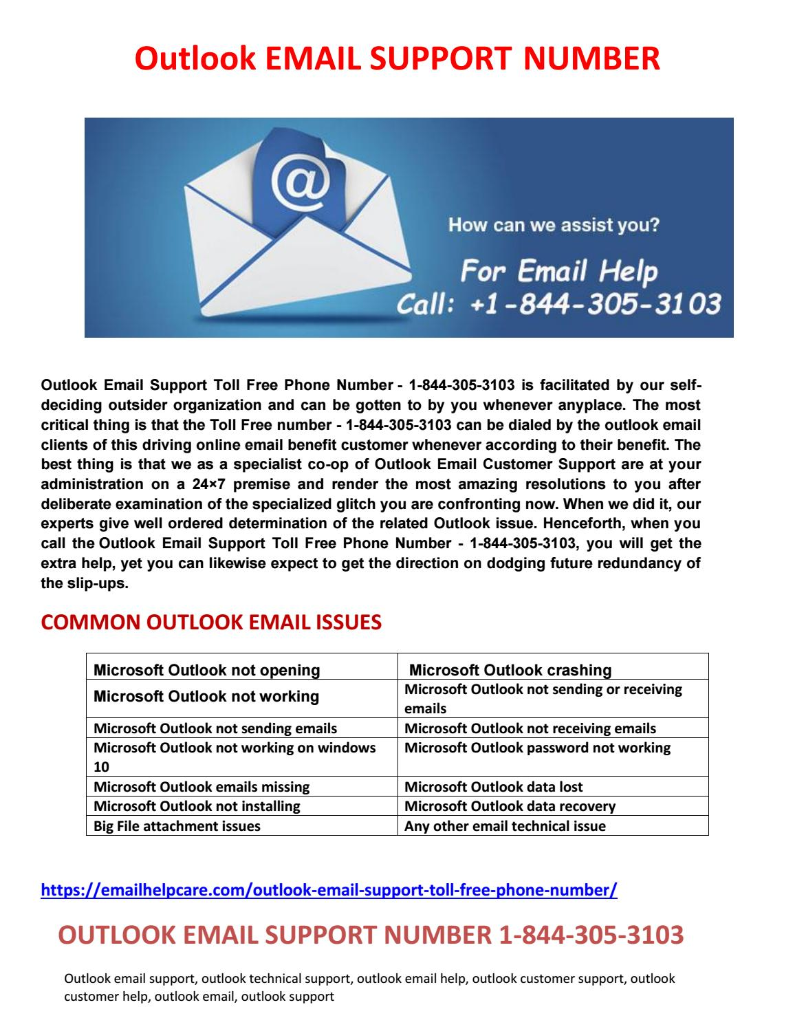 Outlook Email Support Number 1-844-305-3103 by Kevin Jhones - issuu
