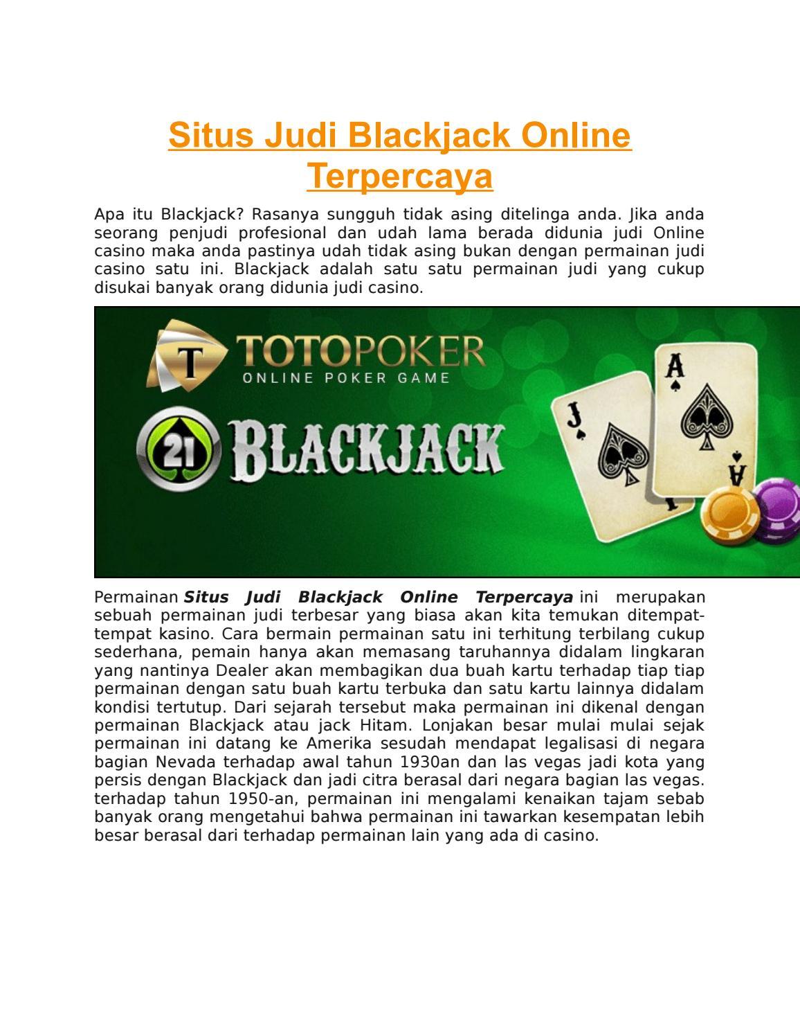 Situs Judi Blackjack Online Terpercaya By Toto Poker Issuu
