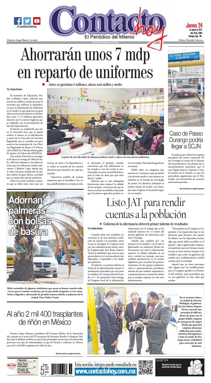 f8b5ecdba6a88 Periódico Contacto hoy del 24 de agosto del 2017 by Contacto hoy - issuu