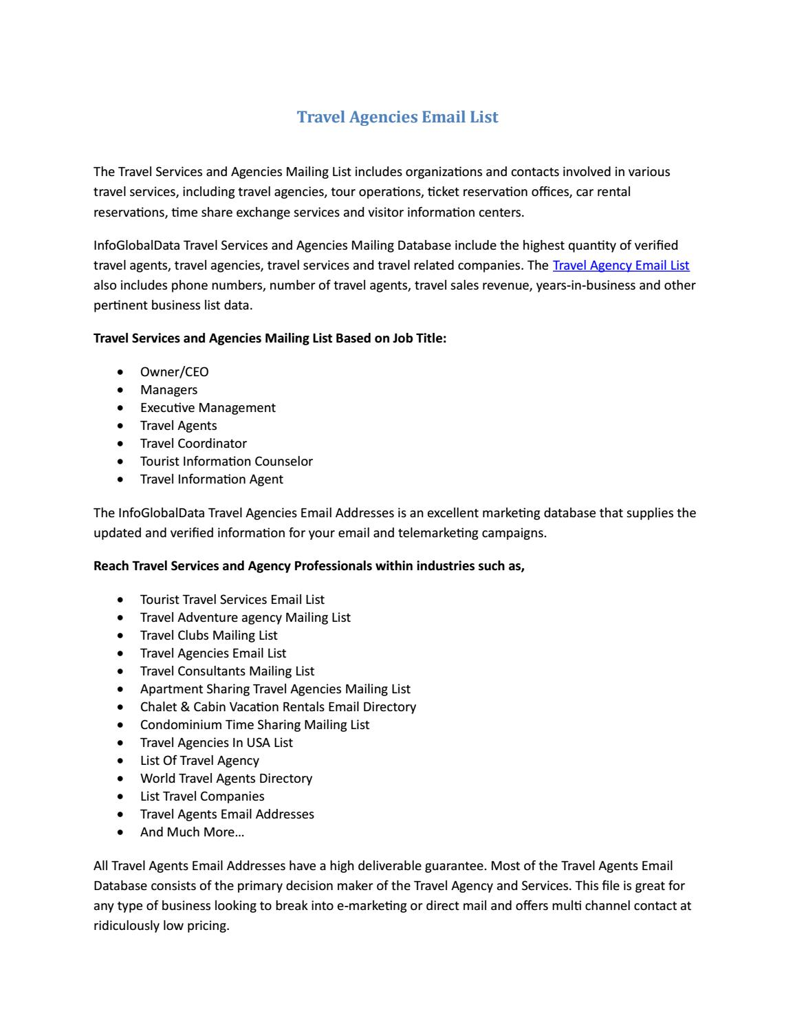 Travel Agencies Email List by william - issuu