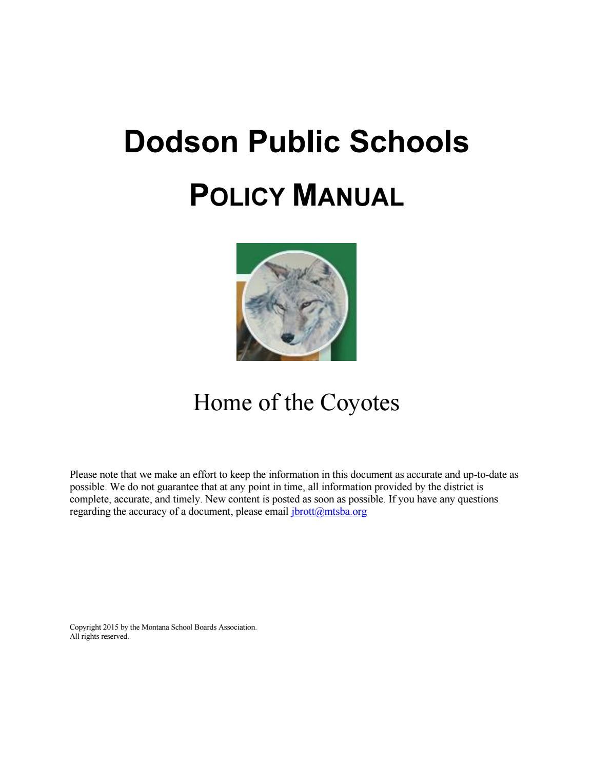 f1186af90307 Dodson Public Schools Policy Manual by Montana School Boards Association -  issuu