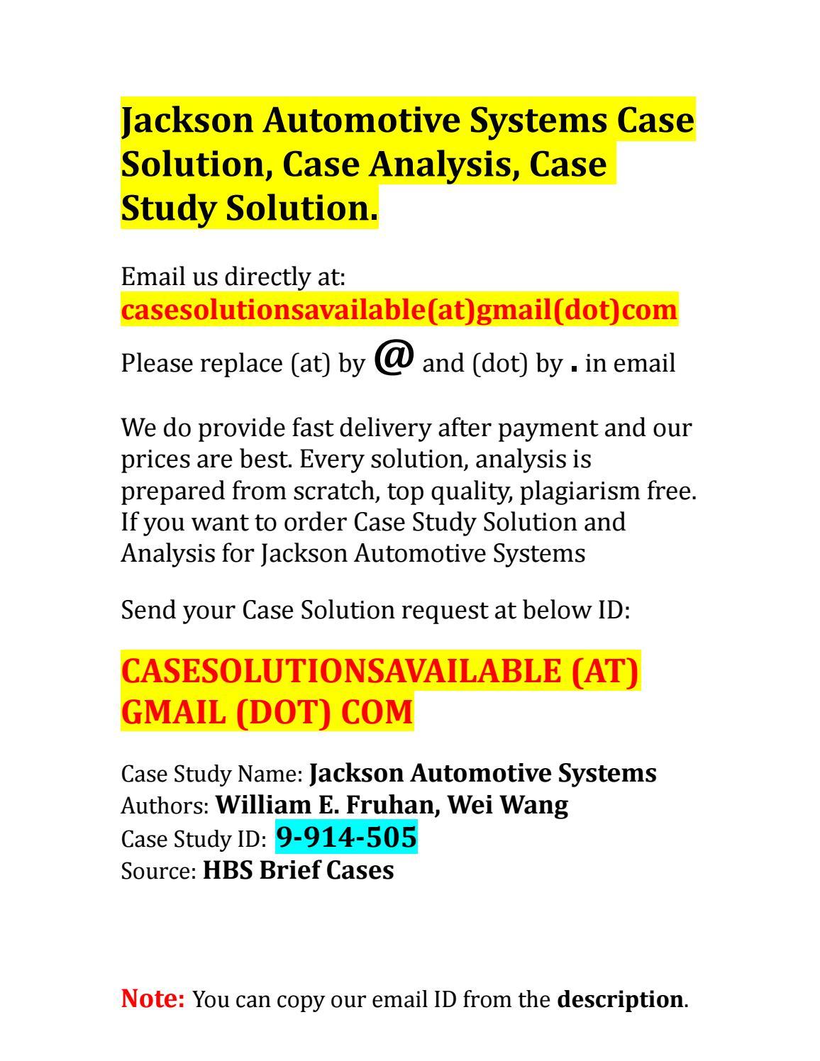 jackson automotive systems case