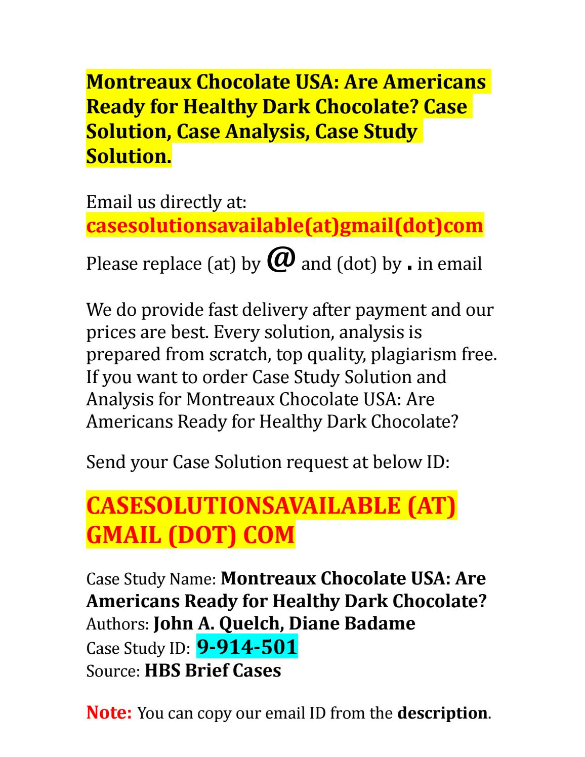 montreaux chocolate usa case study solution