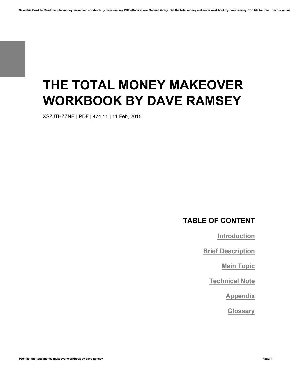 The total money makeover workbook by dave ramsey by ...