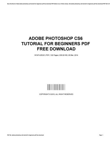Cs6 pdf photoshop for beginners