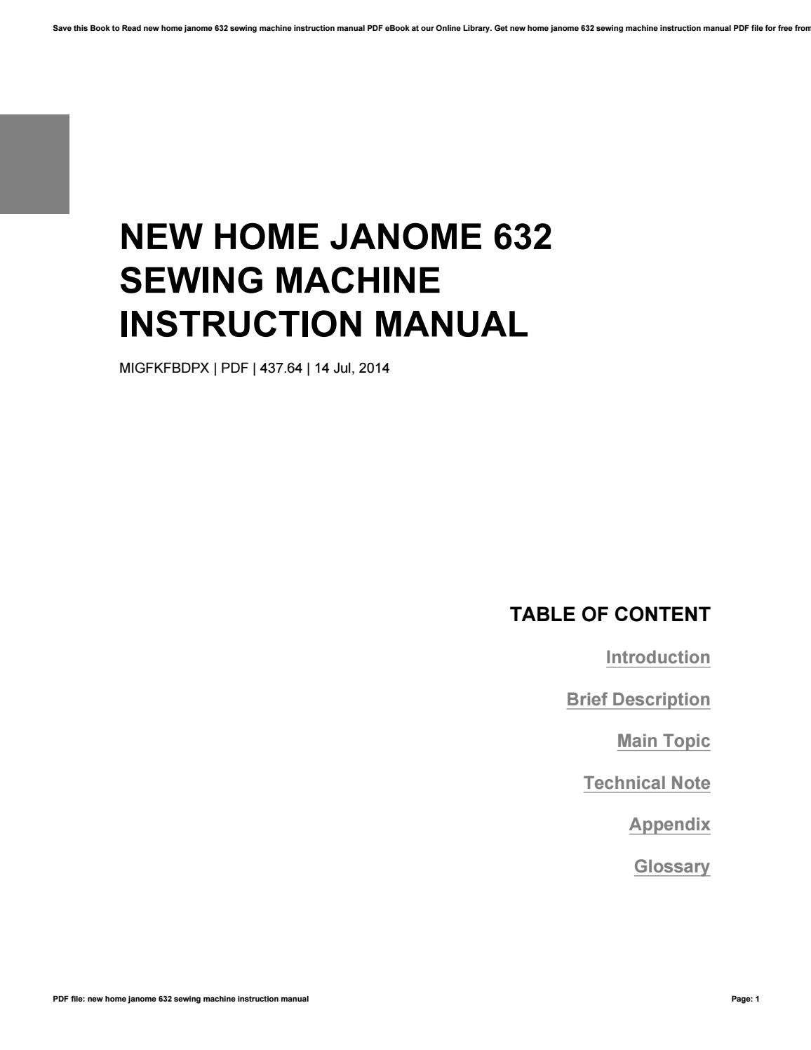 New home janome 632 sewing machine instruction manual by BrittanyJames1826  - issuu