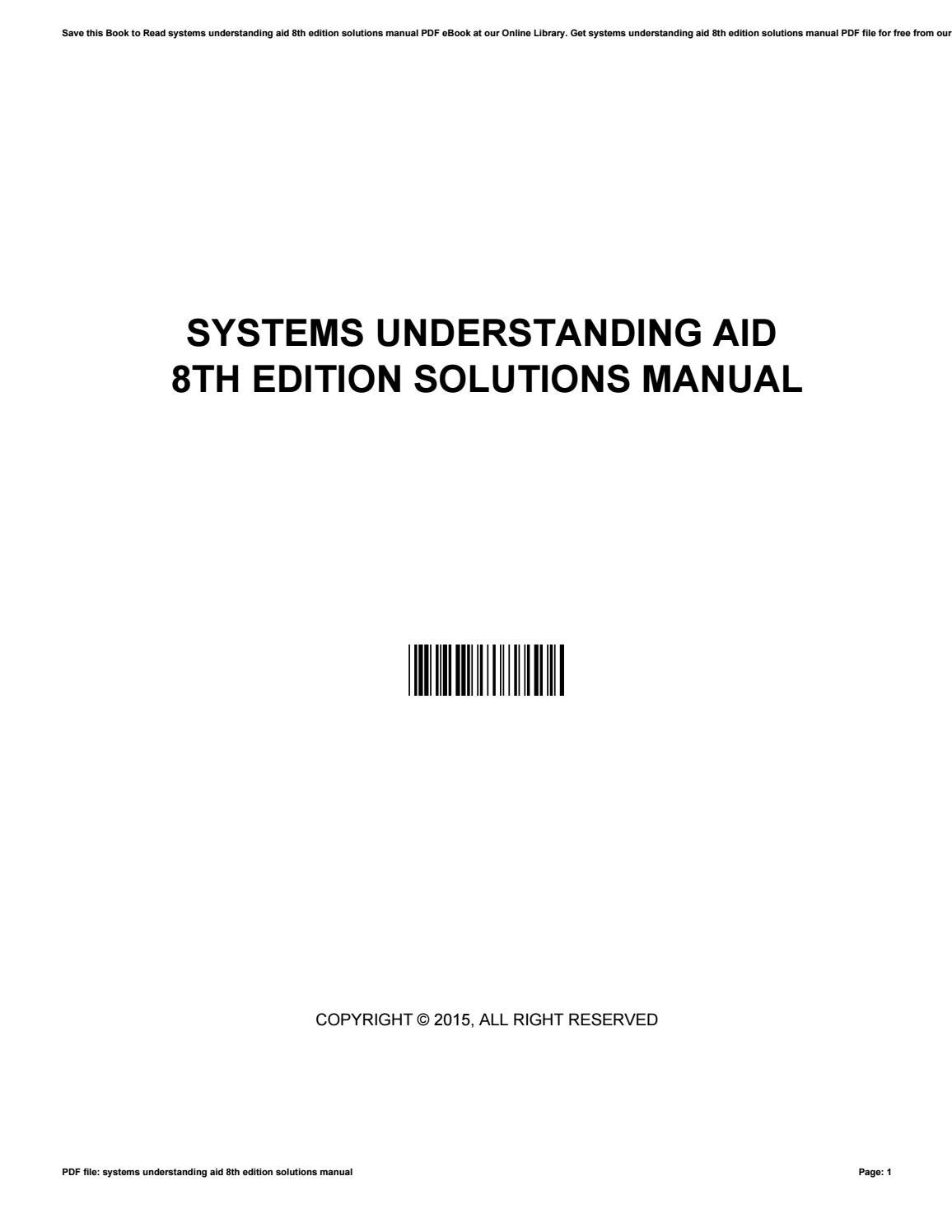 systems understanding aid 8th edition solutions manual by