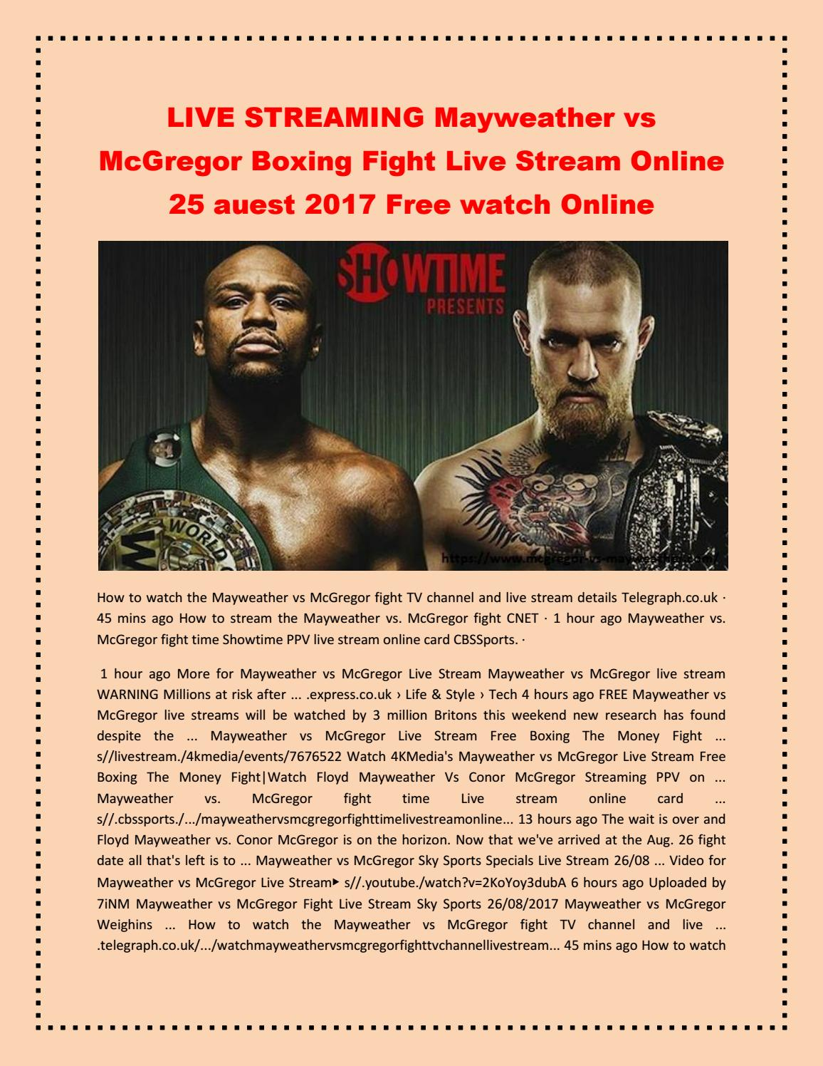 live stream mayweather vs mcgregor free