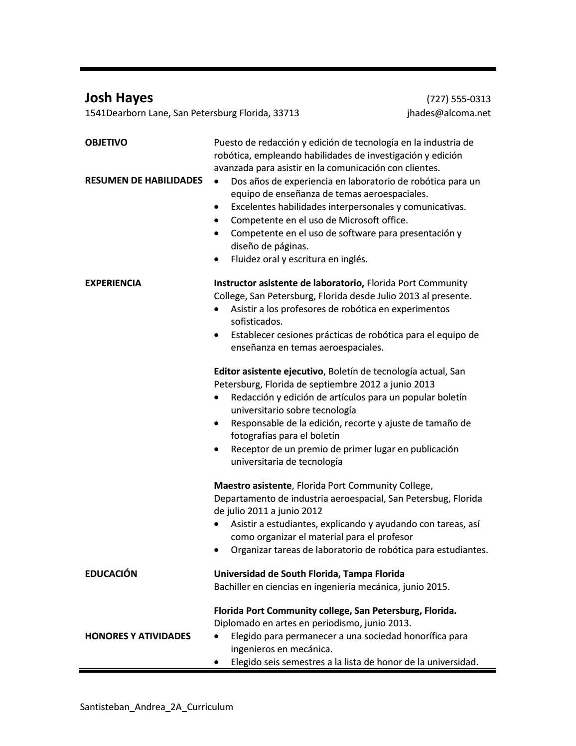 Santisteban andrea 2a curriculum by Andrea Santisteban - issuu
