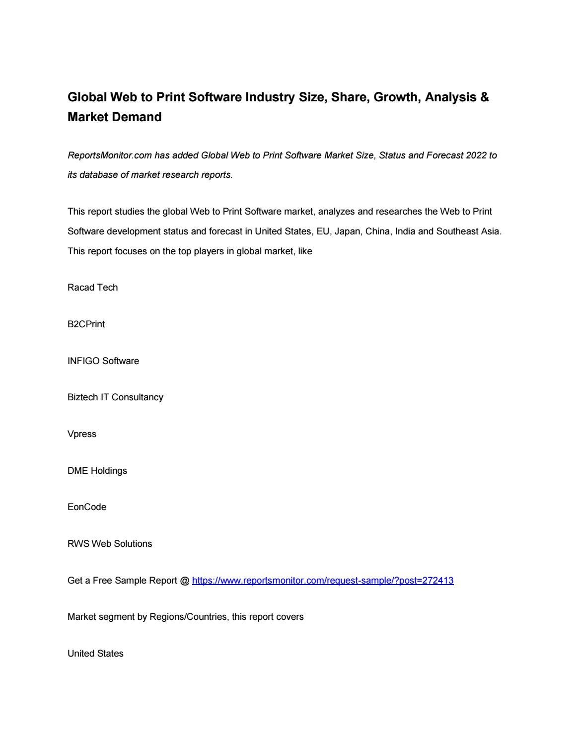 Global web to print software industry size by Daniel