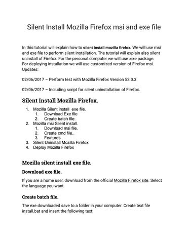 Mozilla silent install by Get It Solutions - issuu