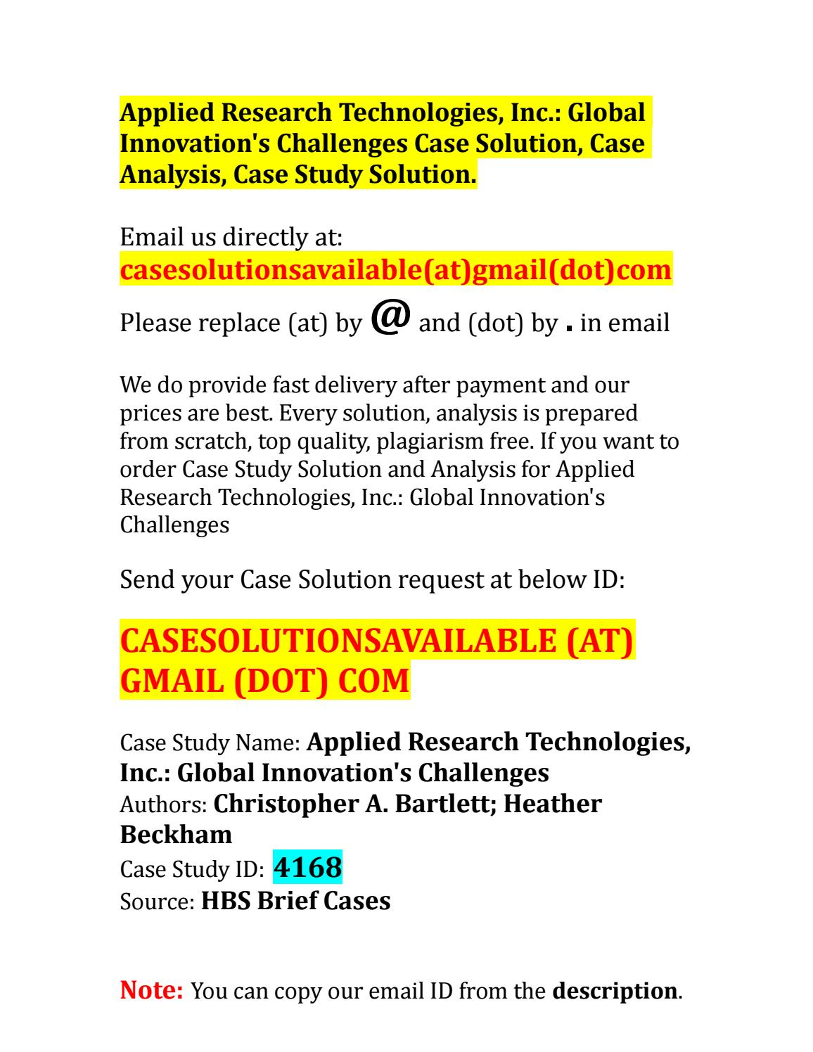 Applied Research Technologies, Inc.: Global Innovation's ...