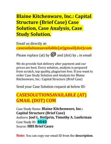 BLAINE KITCHENWARE INC CAPITAL STRUCTURE PDF