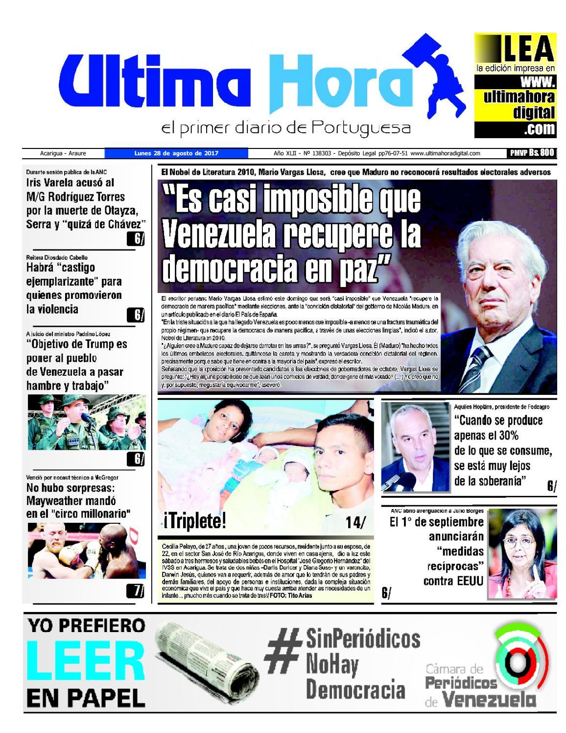 Edicion 28 08 2017 By Ultima Hora El Primer Diario De Portuguesa Issuu