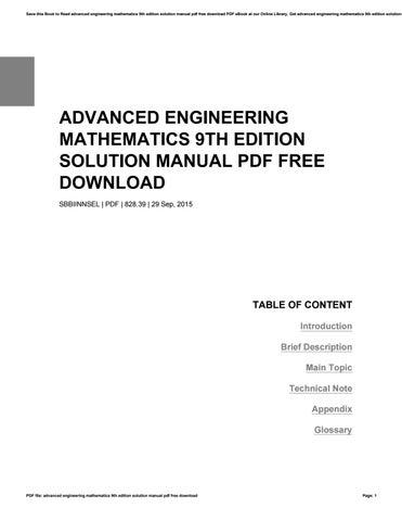 Kreyszig Advanced Engineering Mathematics Solutions Pdf