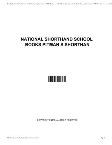 National Shorthand School Books Pitman S Shorthan By Kimwest2748 Issuu