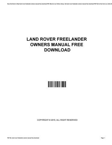 Nissan navara d22 owners manual free download by jameskleinman4846 cover of land rover freelander owners manual free download fandeluxe