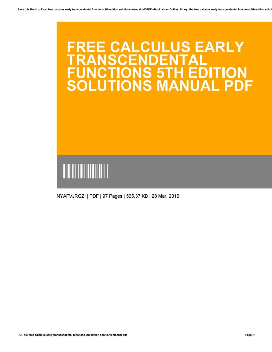 Free calculus early transcendental functions 5th edition solutions manual  pdf by SalvadorGlenn1682 - issuu