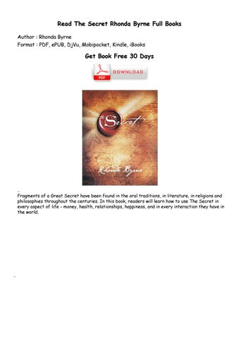 secret book pdf rhonda byrne