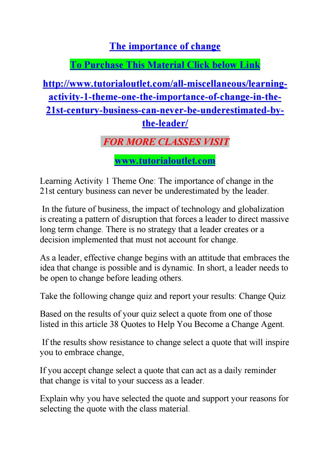 Quotes Quiz The Importance Of Changealbert0062  Issuu