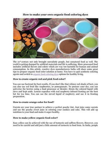 How to make your own organic food coloring dyes by indocolchem - issuu