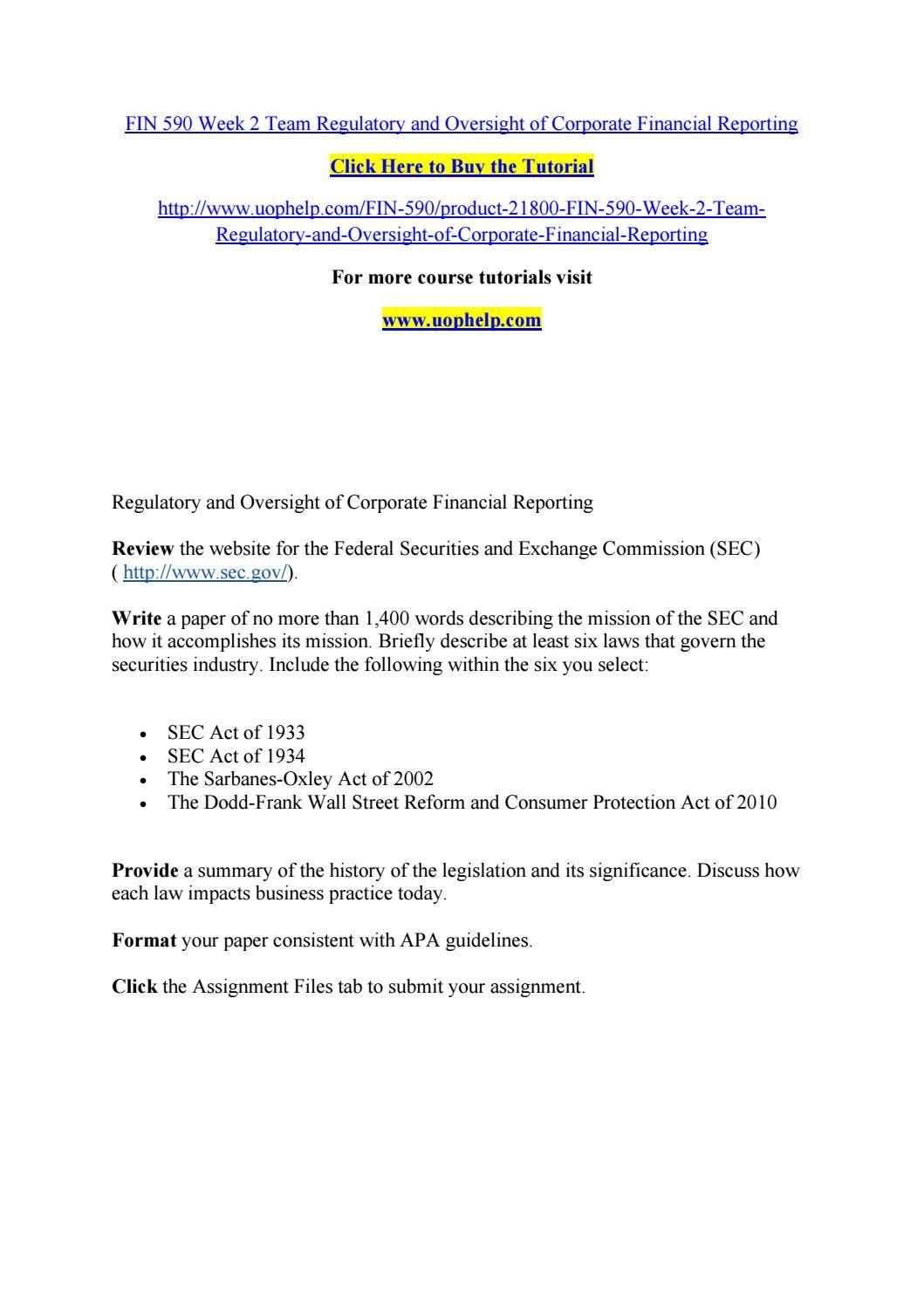 Fin 590 week 2 team regulatory and oversight of corporate