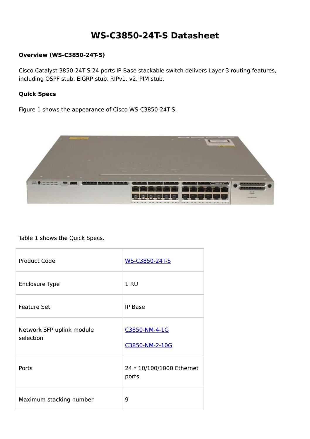 Cisco Catalyst 3850 24t S Datasheet By Router Switch Issuu