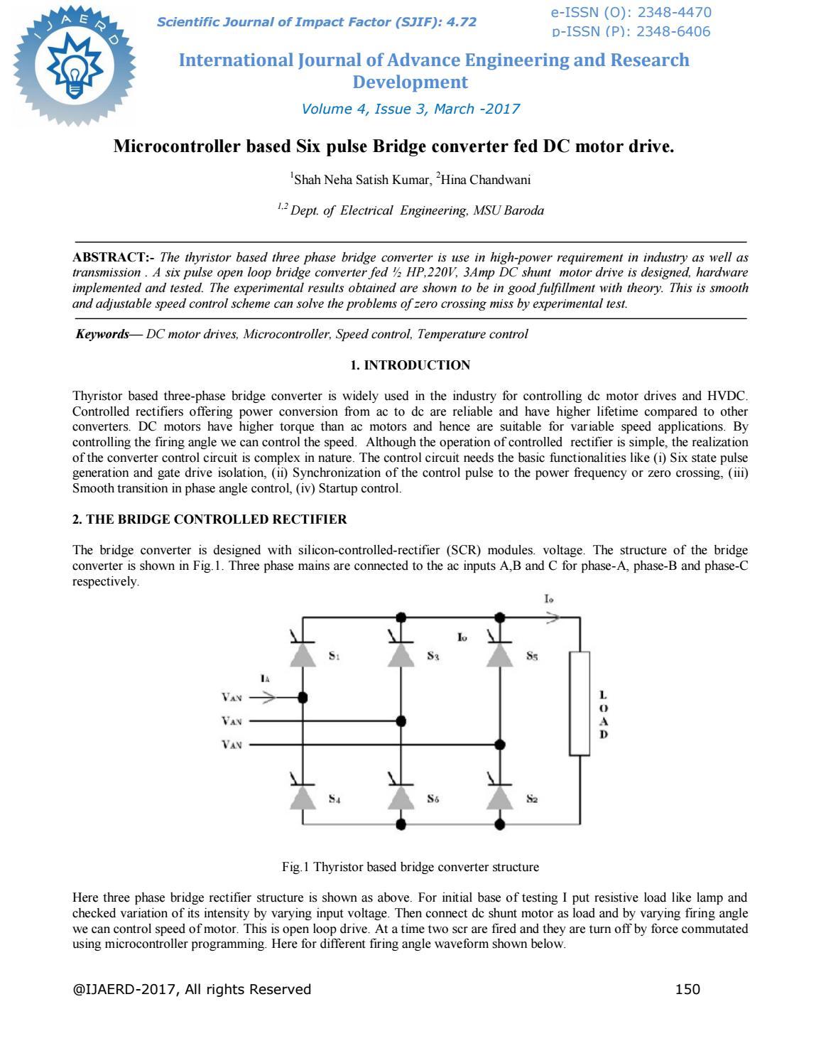 Microcontroller Based Six Pulse Bridge Converter Fed Dc Motor Drive Scr Silicon Controlled Rectifier Ijaerdv04i0315733 By Editor Ijaerd Issuu