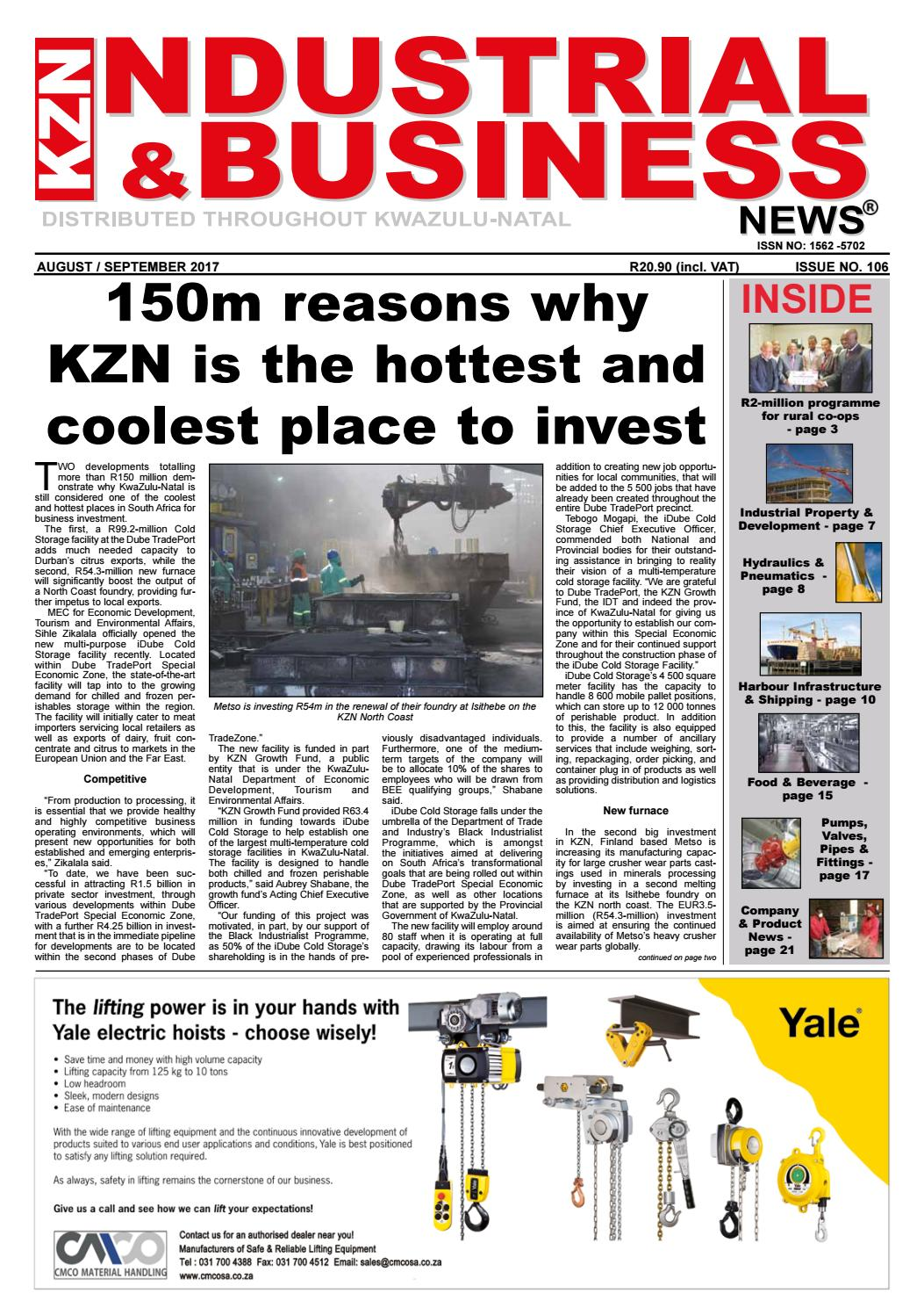 August Sept 2017 Kzn Industrial Business News Issue 106