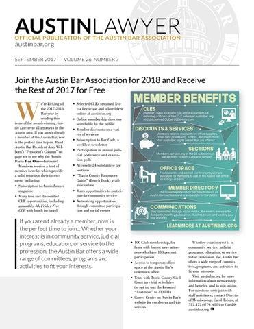 Austin Lawyer, September 2017 by Austin Bar Association - issuu