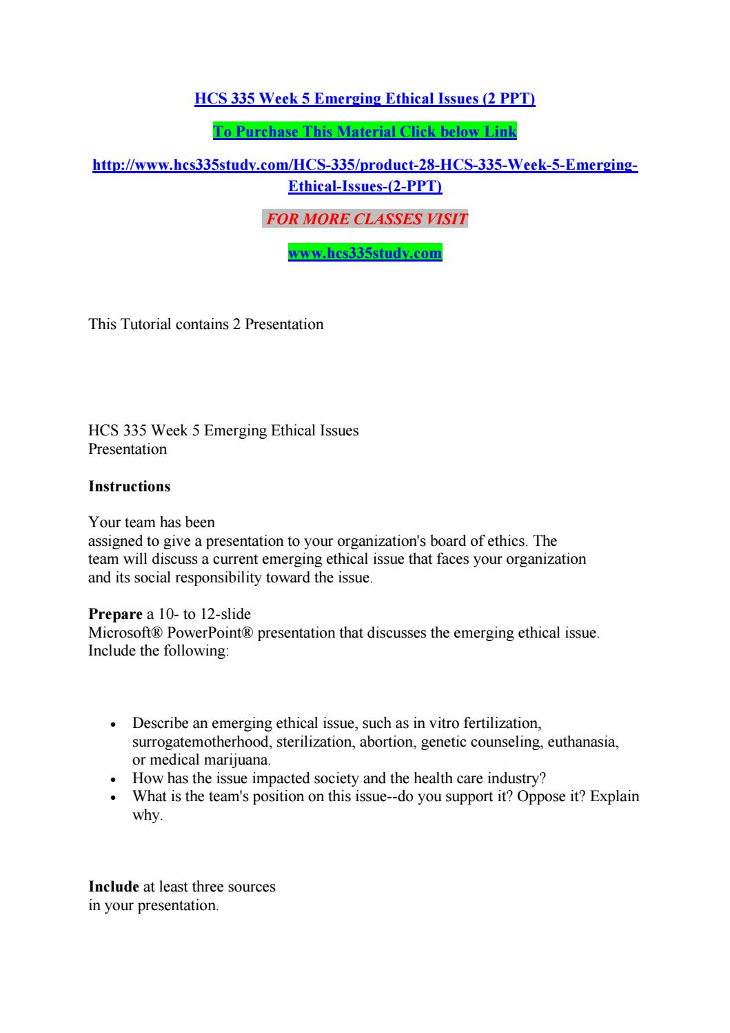 Hcs 335 week 5 emerging ethical issues (2 ppt) by hjk - issuu