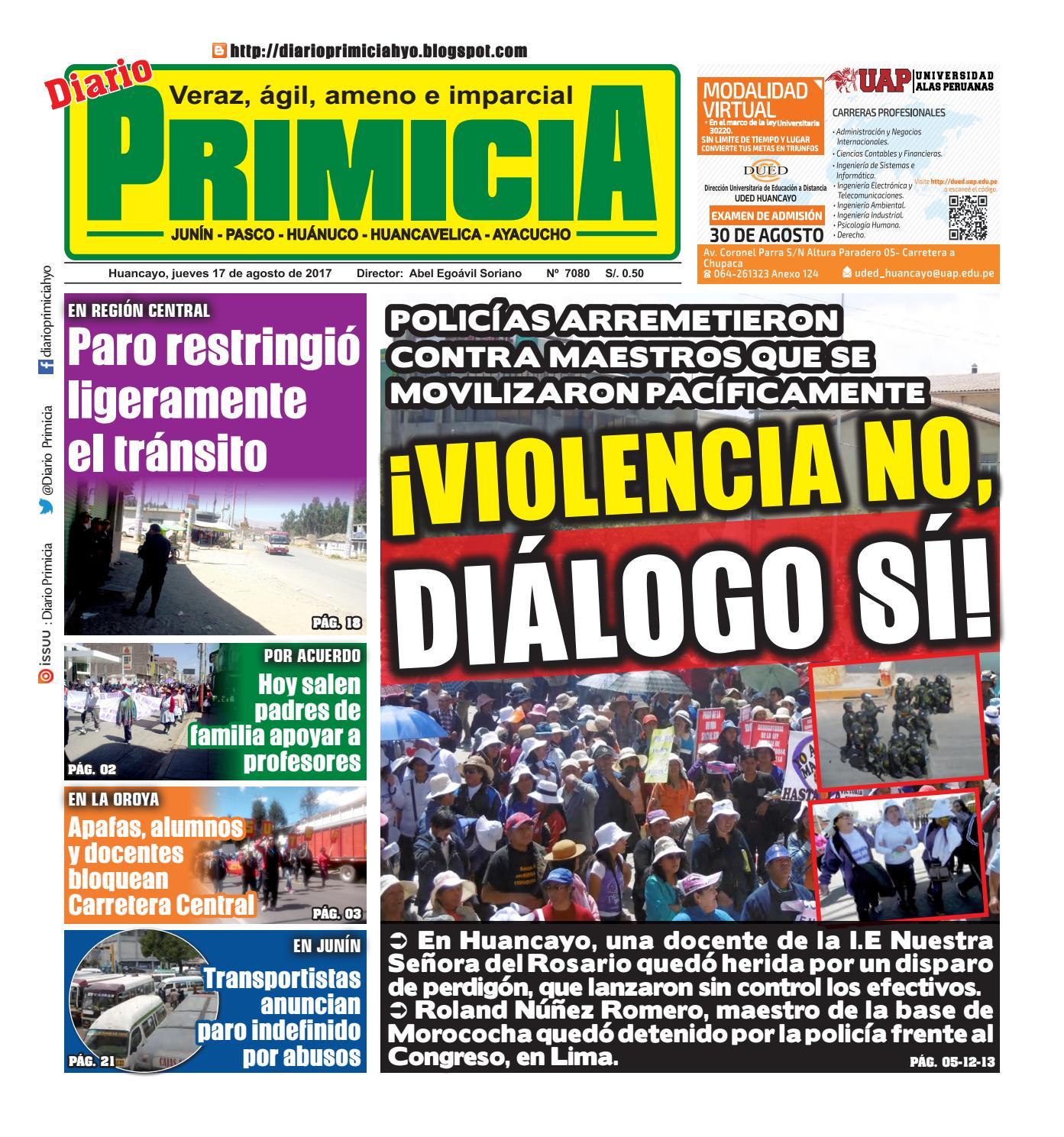 Diario Primicia Huancayo 17/08/17 by Diario PRIMICIA - issuu