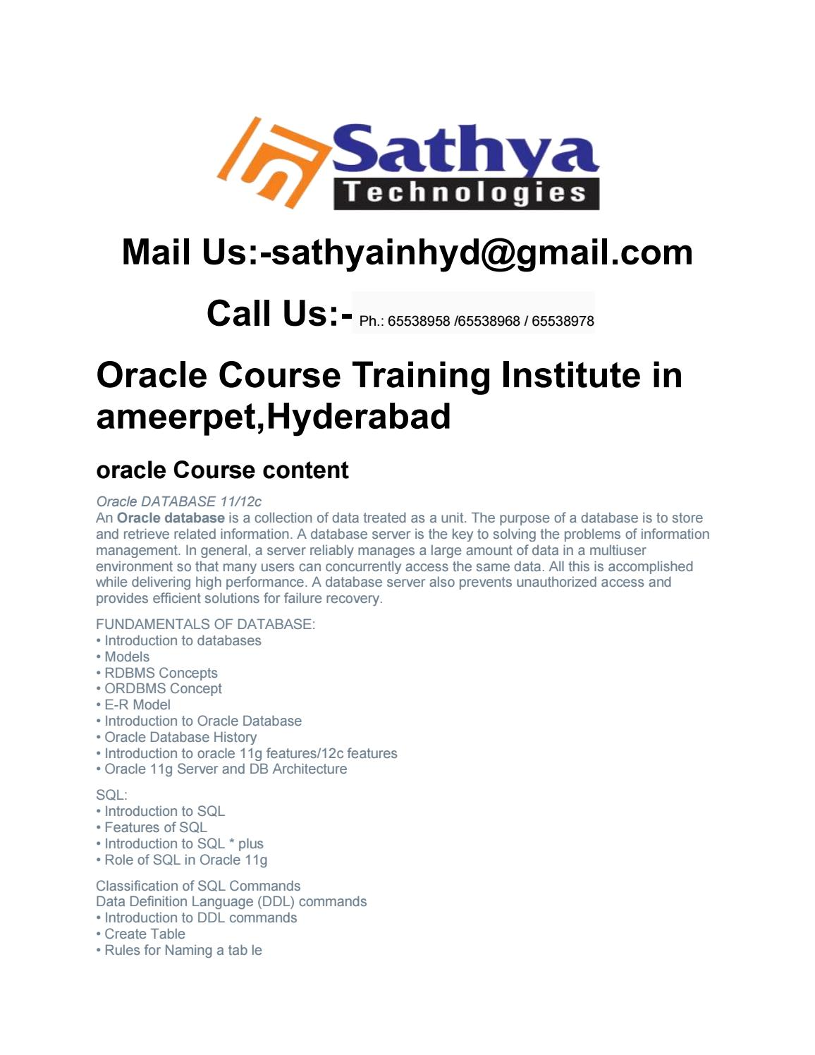 Oracle Training In Hyderabad by sathya tech - issuu