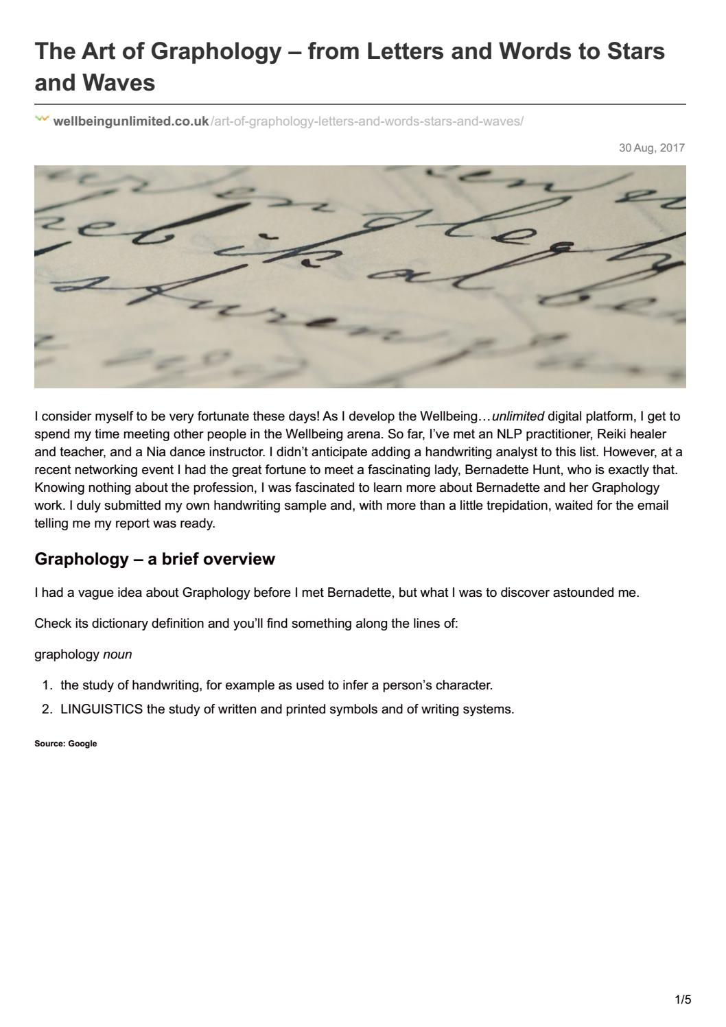The Art Of Graphology From Letters And Words To Stars And Waves By